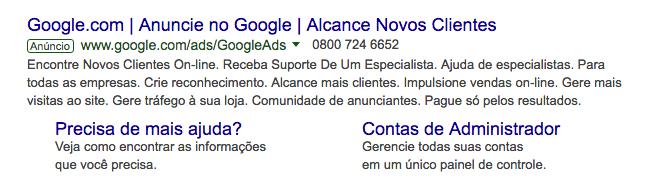 """Anúncios patrocinados no Google possuem a identificação """"Anúncio""""."""