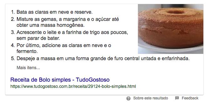 Exemplo de featured snippet no Google - um resultado orgânico alcançado com SEO.
